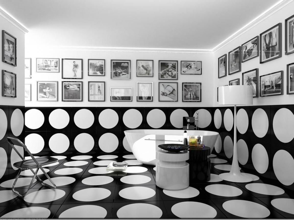 Черно-белая ванная комната является классическим вариантом оформления мокрого помещения.