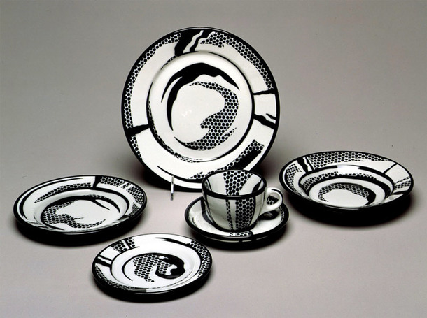 Рой Лихтенштейн, Set of Dinnerware Objects: Dinner Plate, Soup Dish, Salad Plate, Side Plate, Saucer, Cup 1966