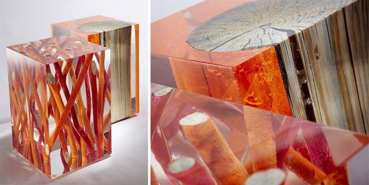 3. Стол из бревна и веток в стекле